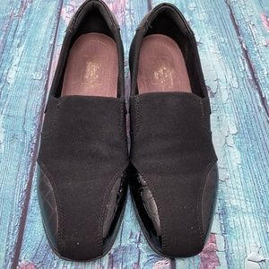 Clarks Women's Black Neoprene Slip On Loafer Shoes